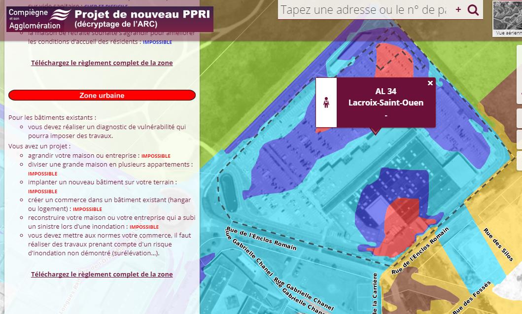 Carte du PPRI par l'Agglomération de Compiègne